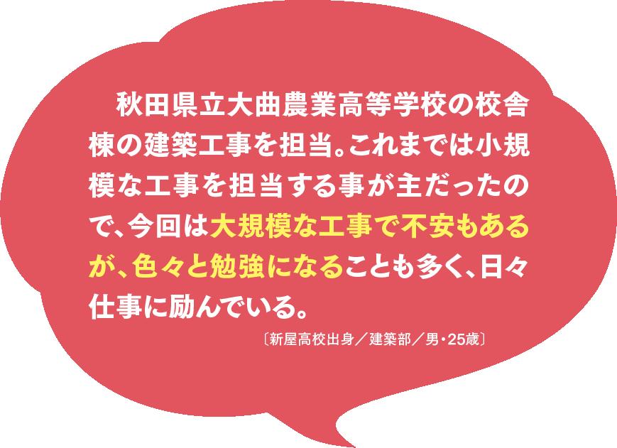 秋田県立大曲農業高等学校の校舎棟の建築工事を担当。これまでは小規模な工事を担当する事が主だったので、今回は大規模な工事で不安もあるが、色々と勉強になることも多く、日々仕事に励んでいる。〔新屋高校出身/建築部/男・25歳〕